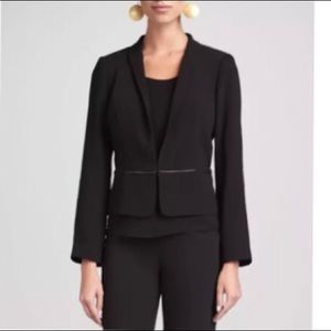 Tropical Suiting Eco Poly Leather Trim Jacket